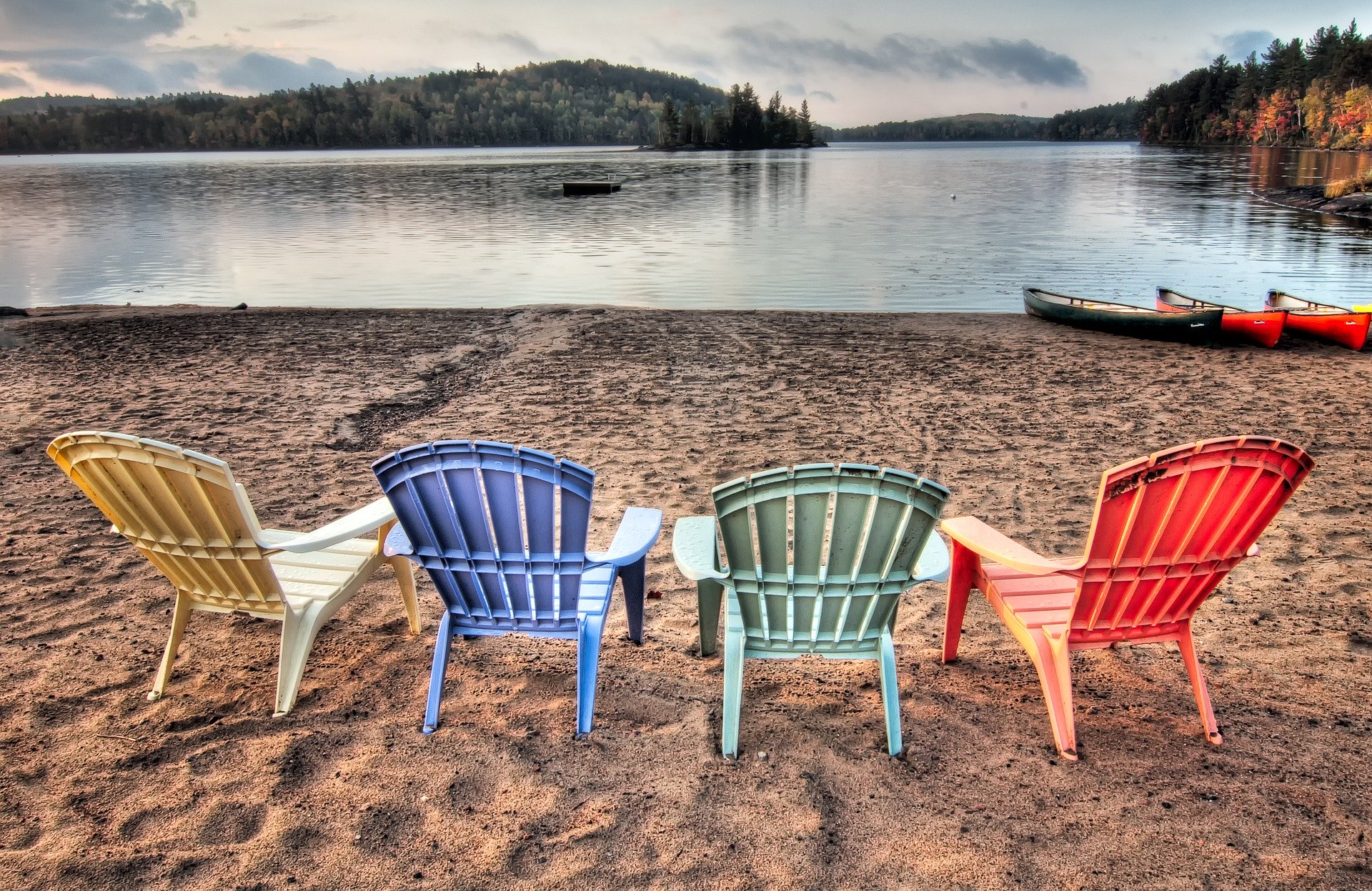 Lakeshore seating on Adirondack chairs.