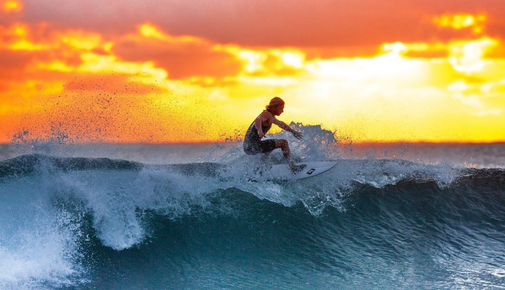 Surfing at Sunset - My favourite Surf Beach