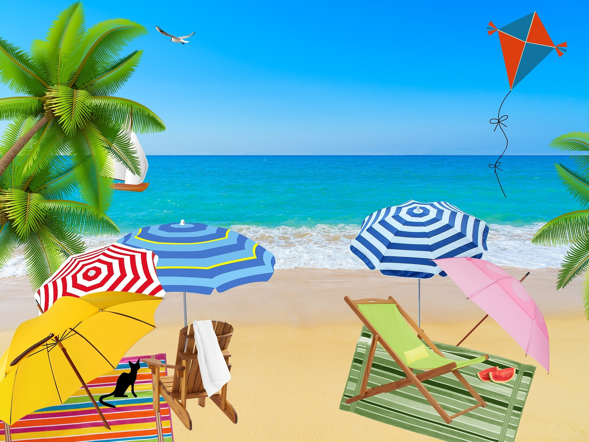 Parasols and beach loungers with a kite flying at the beach